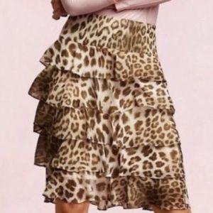 🆕 Talbots Animal Print Ruffle Tier Skirt